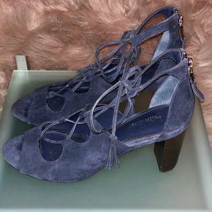 Ralph Lauren Blue Suede Lace-up Sandal